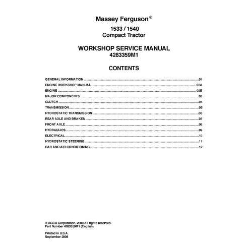 Massey Ferguson 1533 / 1540 tractor workshop service manual - Massey Ferguson manuals