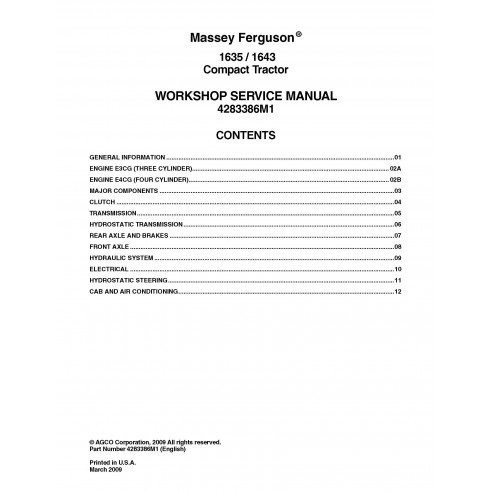Massey Ferguson 1635 / 1643 tractor workshop service manual