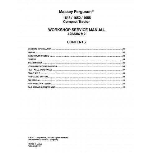 Massey Ferguson 1648 / 1652 / 1655 tractor workshop service manual