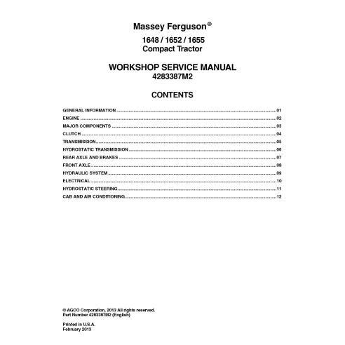 Manual de servicio del taller del tractor Massey Ferguson 1648/1652/1655 - Massey Ferguson manuales