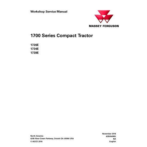 Manual de serviço da oficina do trator Massey Ferguson 1726E / 1734E / 1739E - Massey Ferguson manuais