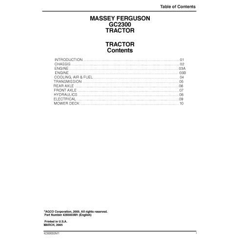 Manual de servicio del taller del tractor Massey Ferguson GC2300 - Massey Ferguson manuales