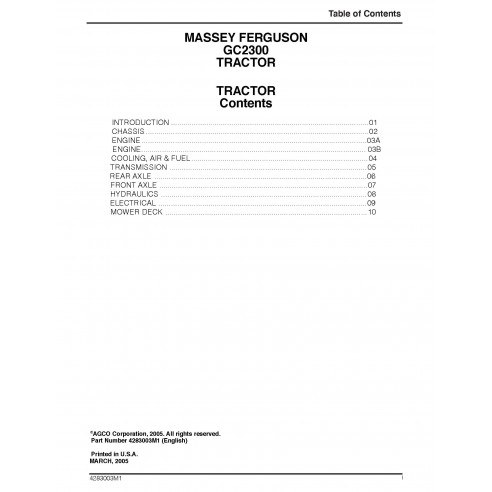 Massey Ferguson GC2300 tractor workshop service manual - Massey Ferguson manuals