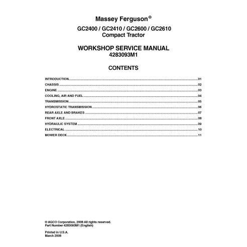 Massey Ferguson GC2400 / GC2410 / GC2600 / GC2610 tractor workshop service manual
