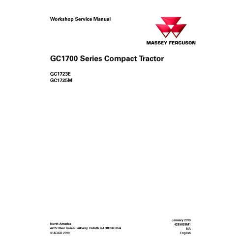 Manual de serviço para oficina de trator Massey Ferguson GC1723E / GC1725M - Massey Ferguson manuais