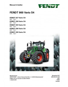 Fendt 900 - 927 / 930 / 933 / 946 / 939 tractor workshop service manual French