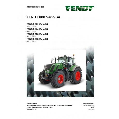 Fendt 800 - 822 / 824 / 826 / 828 tractor workshop service manual French