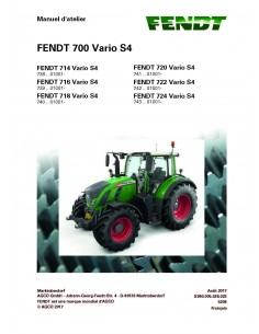 Fendt 700 - 714 / 716 / 718 / 720 / 722 / 724 tractor workshop service manual French