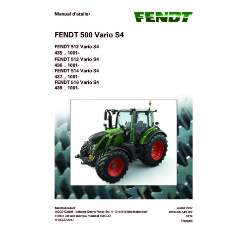 Fendt 500 - 512 / 513 / 514 / 516 tractor workshop service manual French - Fendt manuals