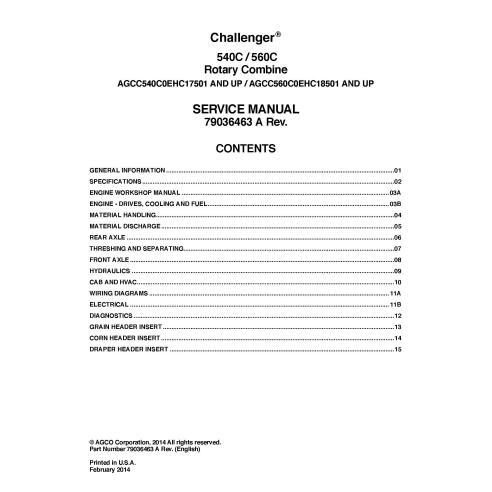 Challenger 540C / 560C combine service manual - Challenger manuals