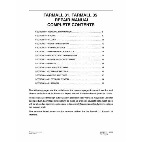 Case IH Farmall 30, 35 tracteur compact manuel de réparation pdf - Case IH manuels