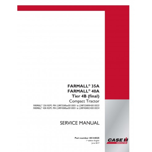 Case IH Farmall 35A, 40A Tier 4B tracteur compact service manuel pdf - Case IH manuais