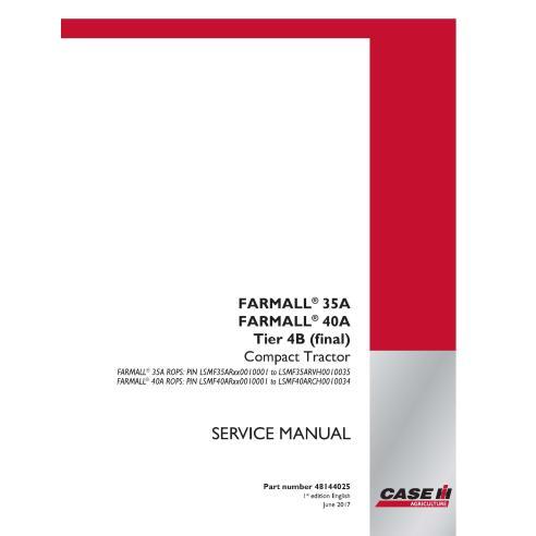 Case IH Farmall 35A, 40A Tier 4B tractor compacto manual de servicio PDF - Case IH manuales