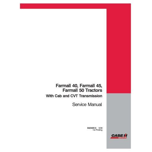Manual de serviço em pdf de trator compacto Case IH Farmall 40, 45, 50 CVT - Case IH manuais