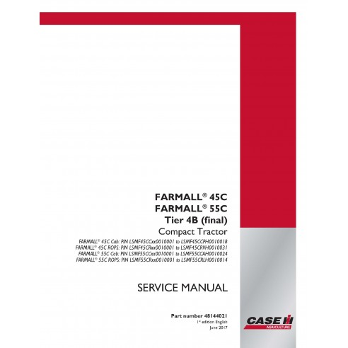Case IH Farmall 45C, 55C Tier 4B compact tractor pdf service manual - Case IH manuals