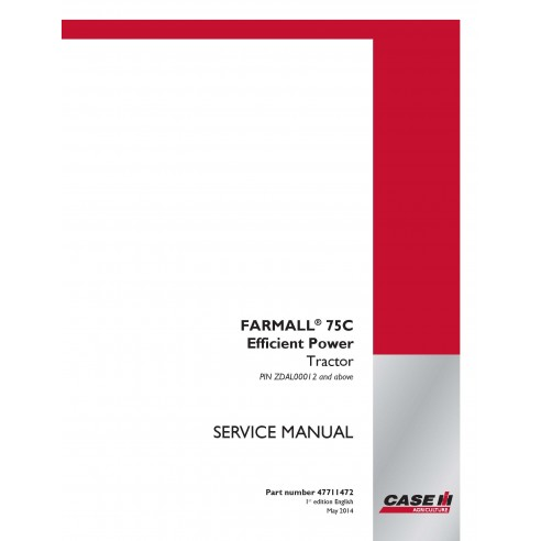 Manual de serviço em pdf do trator Case IH Farmall 65C, 75C, 85C, 95C - Case IH manuais