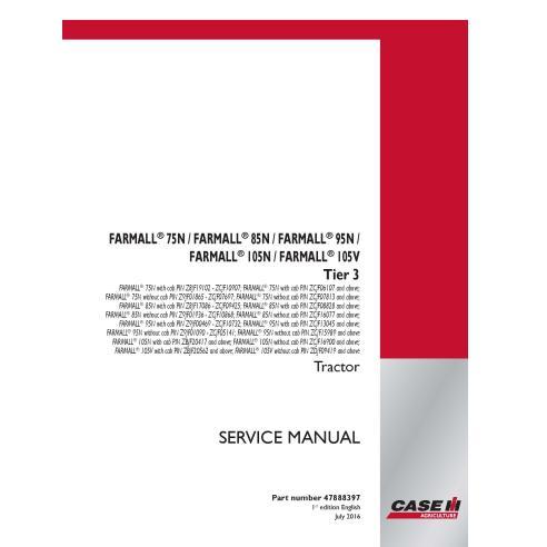Manuel d'entretien PDF du tracteur Case IH Farmall 75N, 85N, 95N, 105N, 105V Tier 3 - Case IH manuels