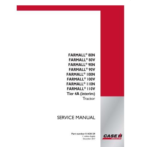 Manuel d'entretien du tracteur Case IH Farmall 80 N / V, 90 N / V, 100 N / V, 110 N / V Tier 4A - Case IH manuels