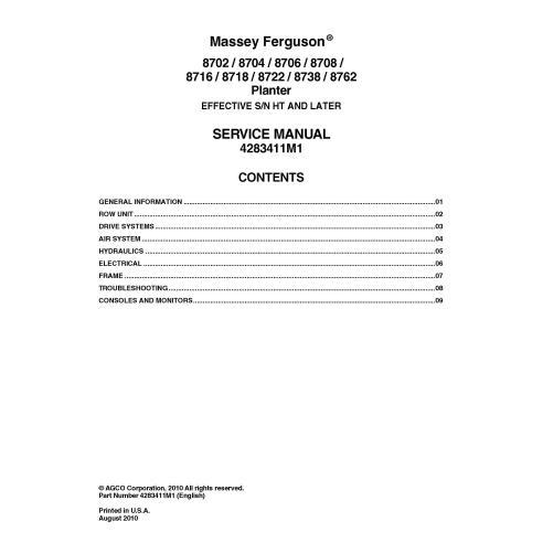 Massey Ferguson 8702, 8704, 8706, 8708, 8716, 8718, 8722, 8738, 8762 manuel d'entretien du semoir PDF - Massey Ferguson manuels