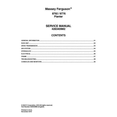 Manual de serviço em pdf da plantadeira Massey Ferguson 8792, 8776 - Massey Ferguson manuais