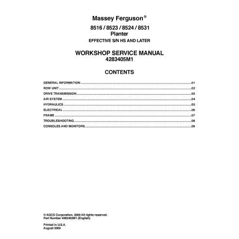Massey Ferguson 8516, 8523, 8524, 8531 manuel d'entretien PDF du semoir - Massey Ferguson manuels