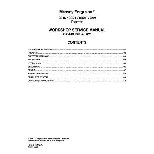 Manual de serviço da plantadeira Massey Ferguson 8816, 8824, 8824-70cm em PDF - Massey Ferguson manuais