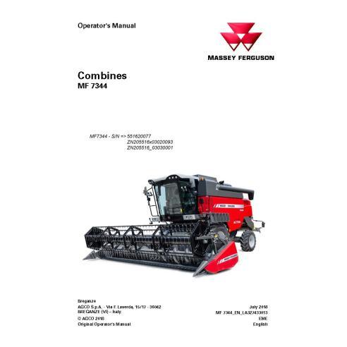 Massey Ferguson MF 7344 moissonneuse-batteuse PDF manuel de l'opérateur - Massey Ferguson manuels
