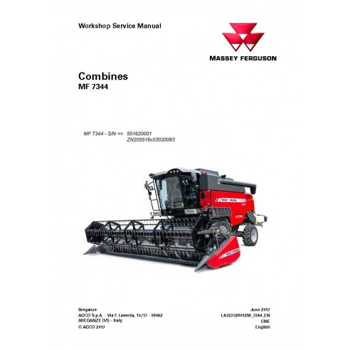 Massey Ferguson MF 7344 combine pdf workshop service manual - Massey Ferguson manuals