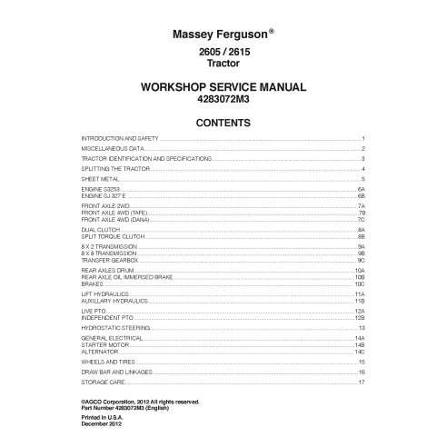Massey Ferguson 2605, 2615 tractor pdf workshop service manual - Massey Ferguson manuals