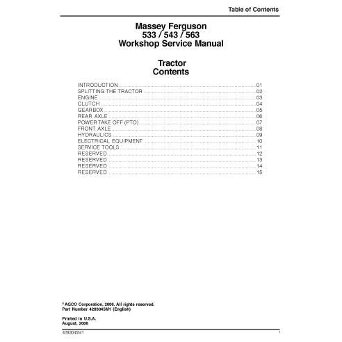 Massey Ferguson 533, 543, 563 tracteur manuel de service d'atelier pdf - Massey Ferguson manuels