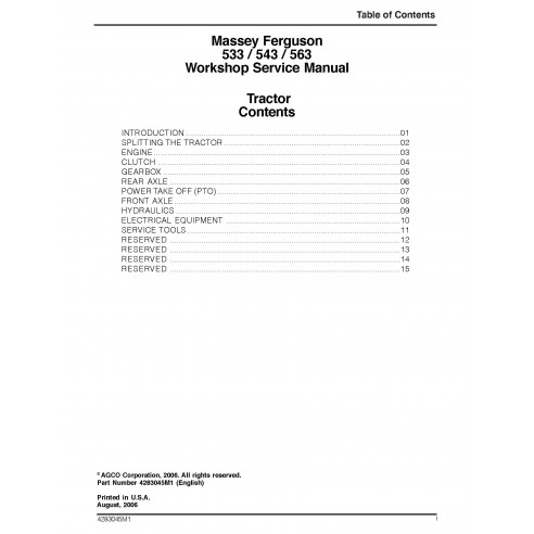 Massey Ferguson 533, 543, 563 tractor pdf taller manual de servicio - Massey Ferguson manuales