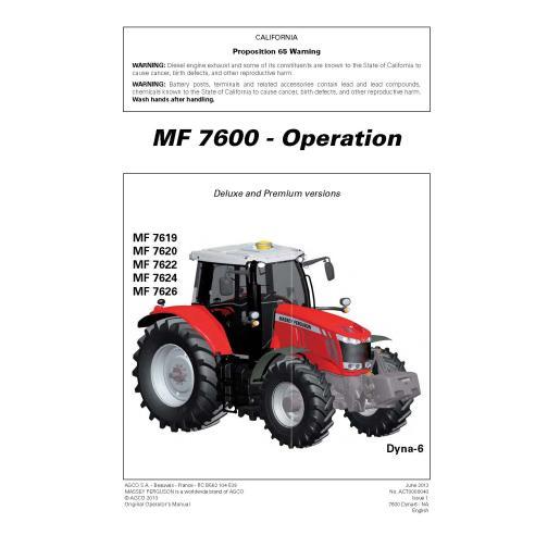 Manual do operador do trator Massey Ferguson 7619, 7620, 7622, 7624, 7626 pdf - Massey Ferguson manuais