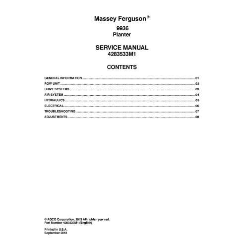 Manual de serviço em pdf da plantadeira Massey Ferguson 9936 - Massey Ferguson manuais
