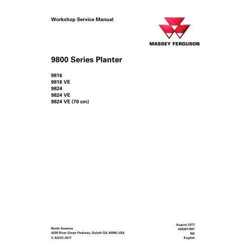 Manual de serviço em pdf da plantadeira Massey Ferguson 9816, 9816 VE, 9824, 9824 VE, 9824 VE - Massey Ferguson manuais