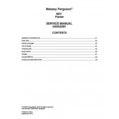 Massey Ferguson 9831 manuel d'entretien PDF du semoir - Massey Ferguson manuels