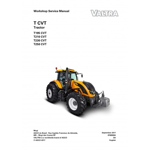 Valtra T195, T210, T230, T250 CVT tractor pdf workshop service manual - Valtra manuals