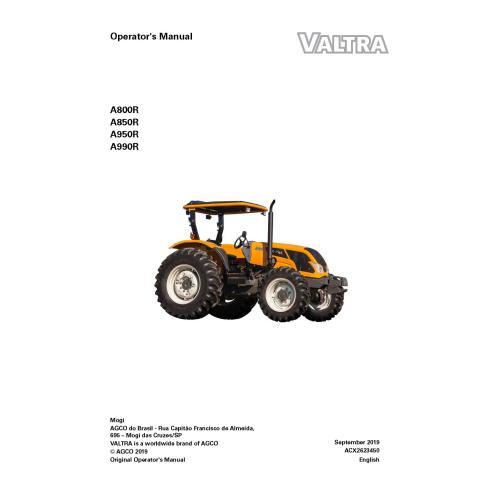 Valtra A800R, A850R, A950R, A990R tractor pdf operator's manual  - Valtra manuals