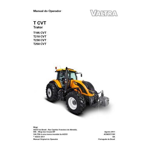 Manuel de l'opérateur PDF du tracteur Valtra T195, T210, T230, T250 CVT - Valtra manuels