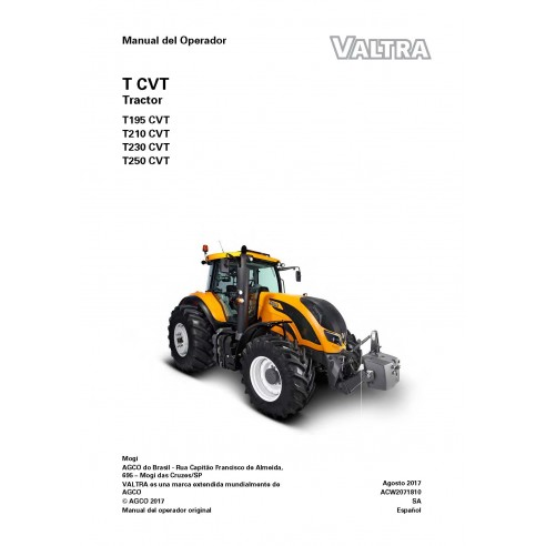 Valtra T195, T210, T230, T250 CVT tractor pdf operator's manual - Valtra manuals