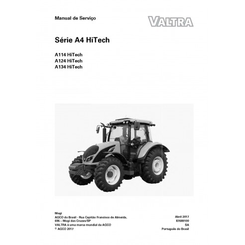 Valtra A114, A124, A134 HiTech trator pdf manual de serviço de oficina PT - Valtra manuais