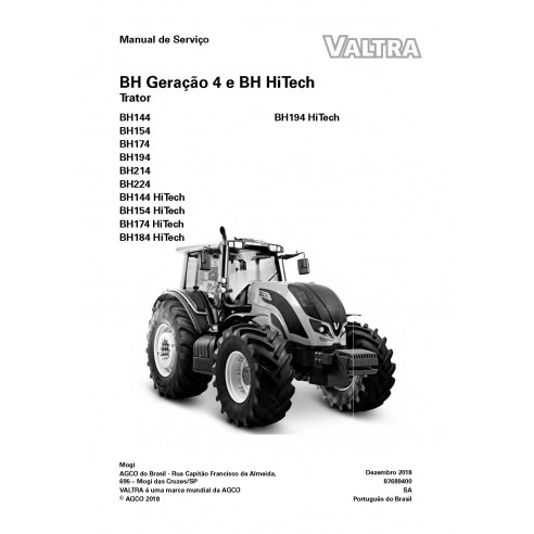 Valtra BH144, BH154, BH174, BH194, BH214, BH224 HiTech tracteur manuel de service d'atelier pdf PT - Valtra manuels