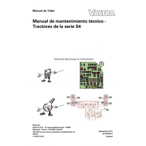 Valtra S274, S294, S324, S354, S374, S394 tracteur pdf carnet de service technique ES - Valtra manuels