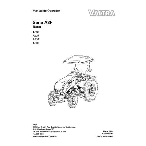Manuel de l'opérateur PDF du tracteur Valtra A63F, A73F, A83F, A93F PT - Valtra manuels