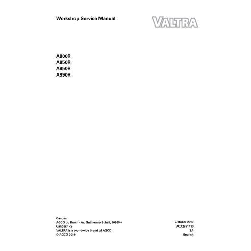 Manuel d'entretien de l'atelier PDF du tracteur Valtra A800R, A850R, A950R, A990R - Valtra manuels