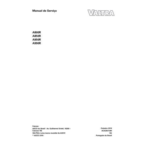 Valtra A800R, A850R, A950R, A990R tracteur manuel de service d'atelier pdf PT - Valtra manuels
