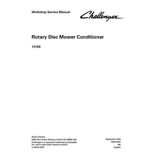 Manual de serviço de oficina em pdf do cortador de disco rotativo Challenger 1316S - Challenger manuais