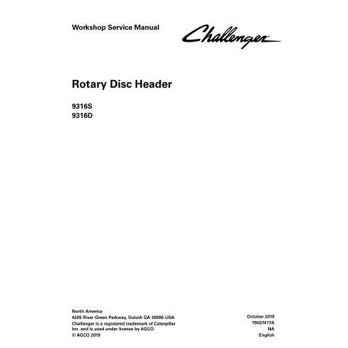 Challenger 9316S, 9316D cabezal de disco giratorio pdf manual de servicio de taller - Challenger manuales