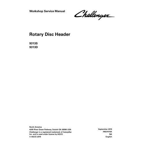 Challenger 9313S, 9313D En-tête à disque rotatif Manuel de service d'atelier PDF - Challenger manuels