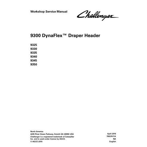 Challenger 9325, 9330, 9335, 9340, 9345, 9350 draper header pdf manuel de service d'atelier - Challenger manuels