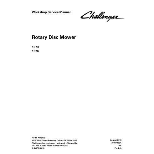 Challenger 1373, 1376 cortador de disco rotativo manual de serviço de oficina em pdf - Challenger manuais
